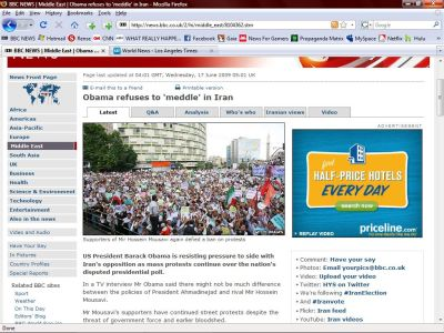 BBC Website Engaged In Anti Ahmedinjad Propoganda - False Picture
