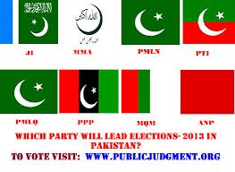 pakistan elections - political parties flags