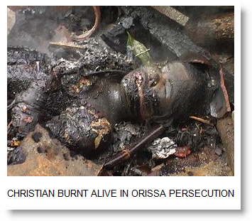 Burnt Christian by hindu extremists in india